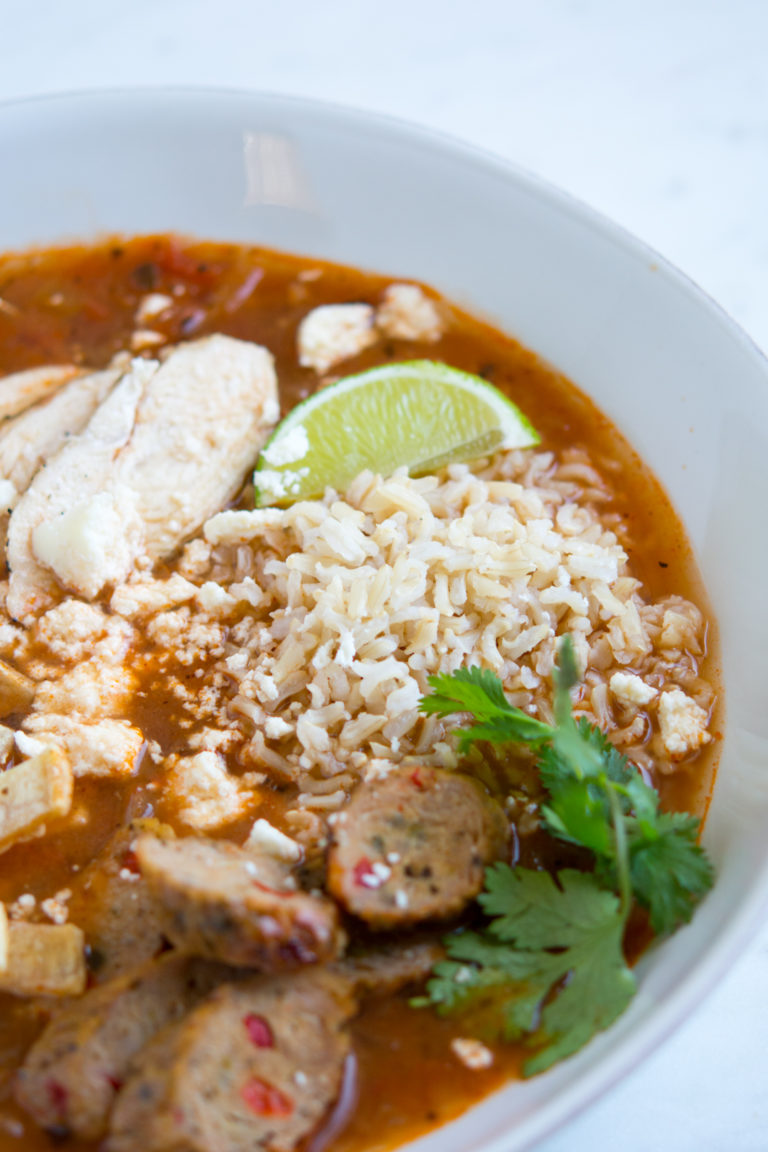 Overhead shot of bowl of tortilla soup
