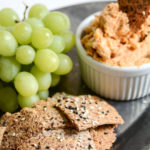 Almond Crackers, Grapes and Cheese Dip Photo Close-up