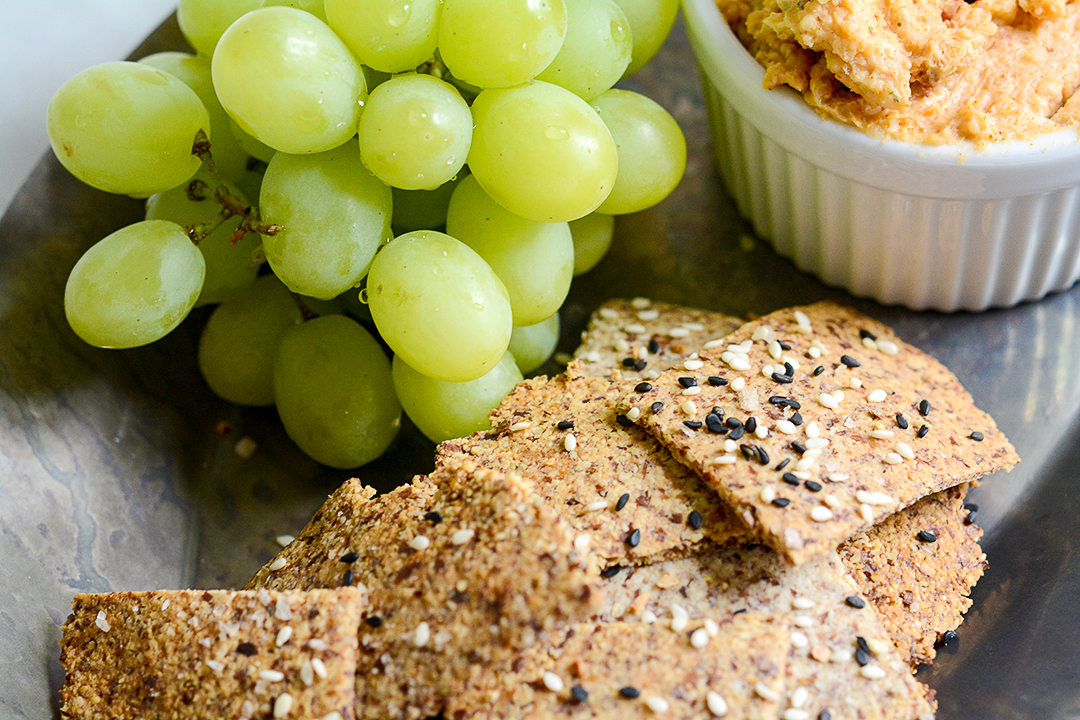 Almond Crackers and Grapes Photo Close-up