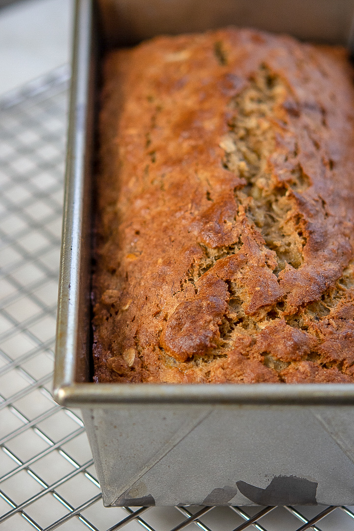 banana oat bread loaf in a pan