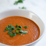 roasted tomato soup with balsamic and fresh basil