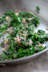 sautéed onions and spinach
