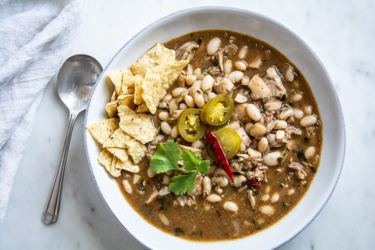 White Bean Chicken Chili in a bowl shot from overhead