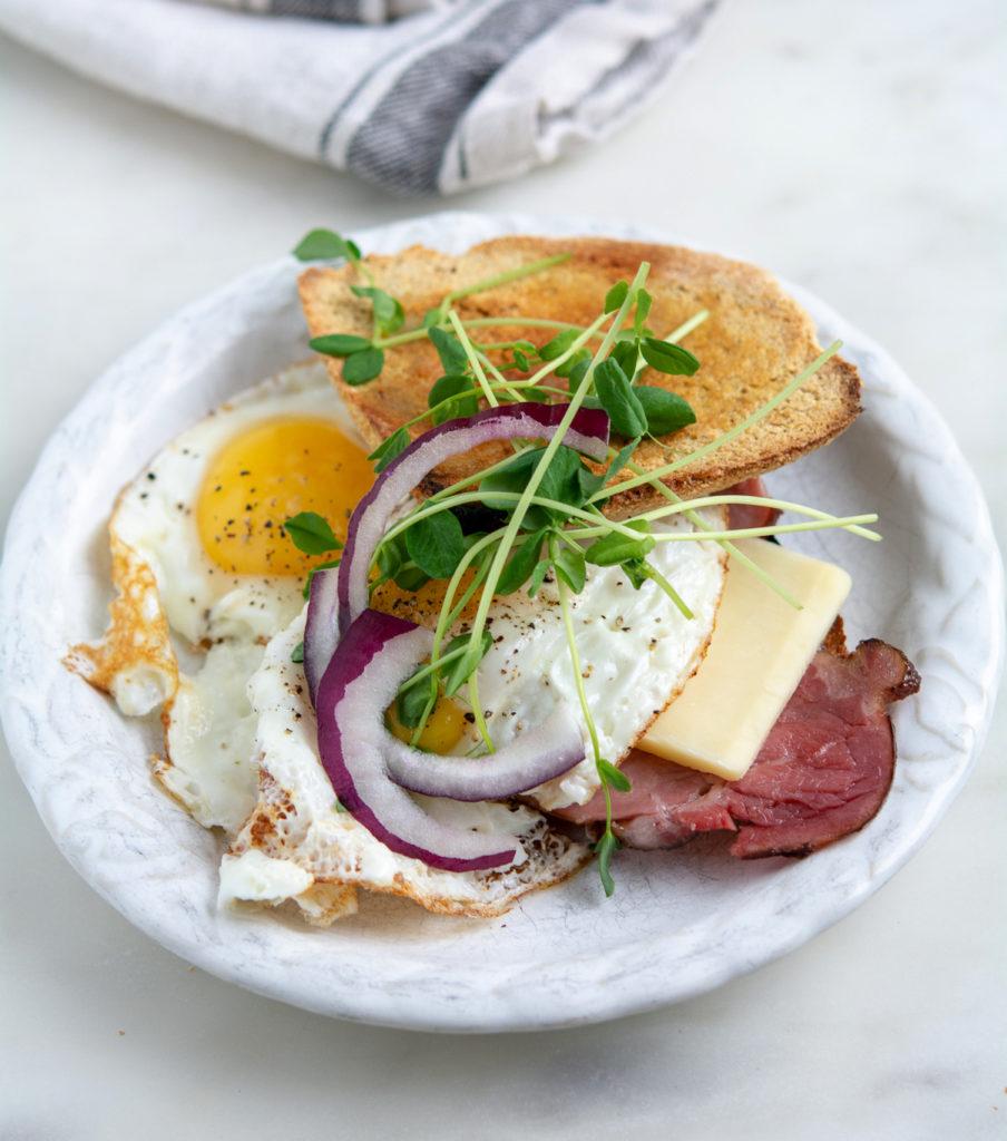 Irish Soda Farls egg and Canadian bacon breakfast sandwich