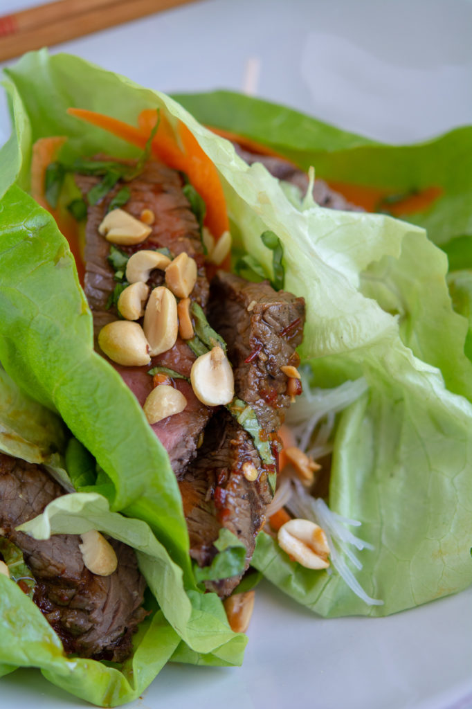 close-up shot of leftover steak lettuce wraps