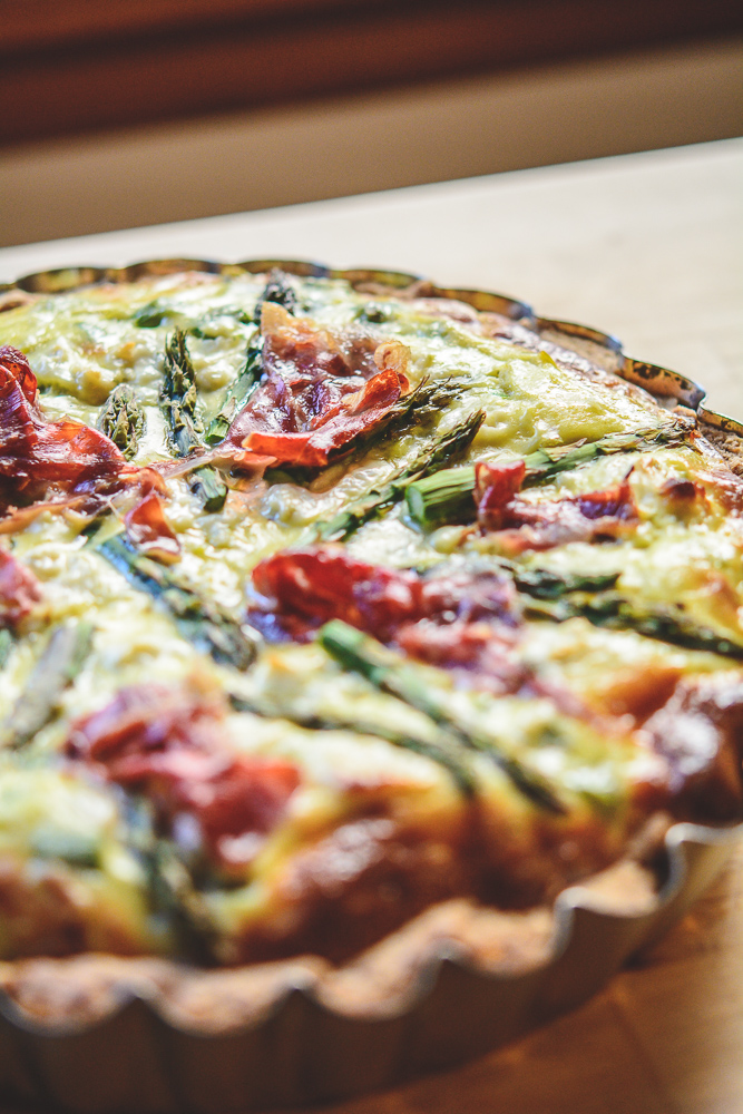 Photo of a baked Asparagus and Ricotta Quiche