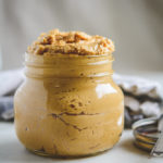 Photo of fresh double roasted peanut butter in a mason jar