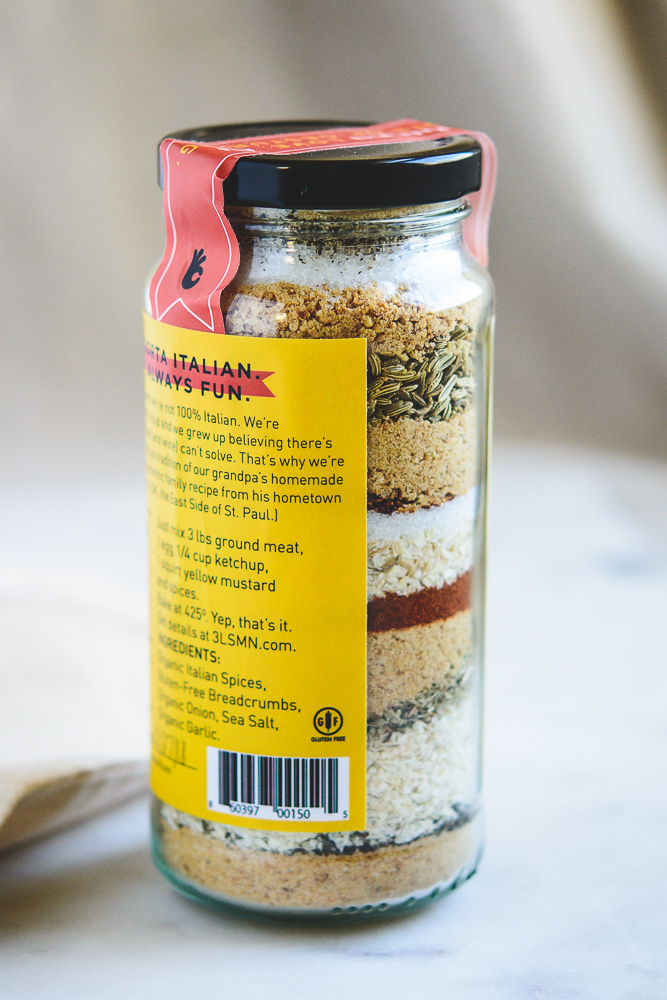 photo of 3 Lonetti Sisters meatball mix in the jar with side view of layered ingredients
