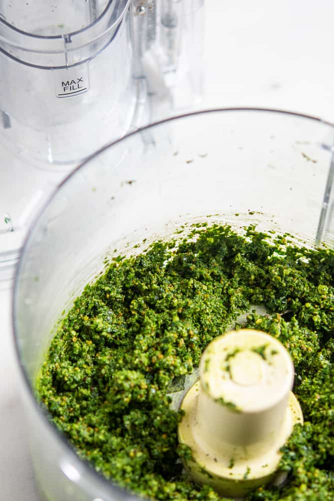 Kale Pesto with Roasted Walnut Oil in a food processor