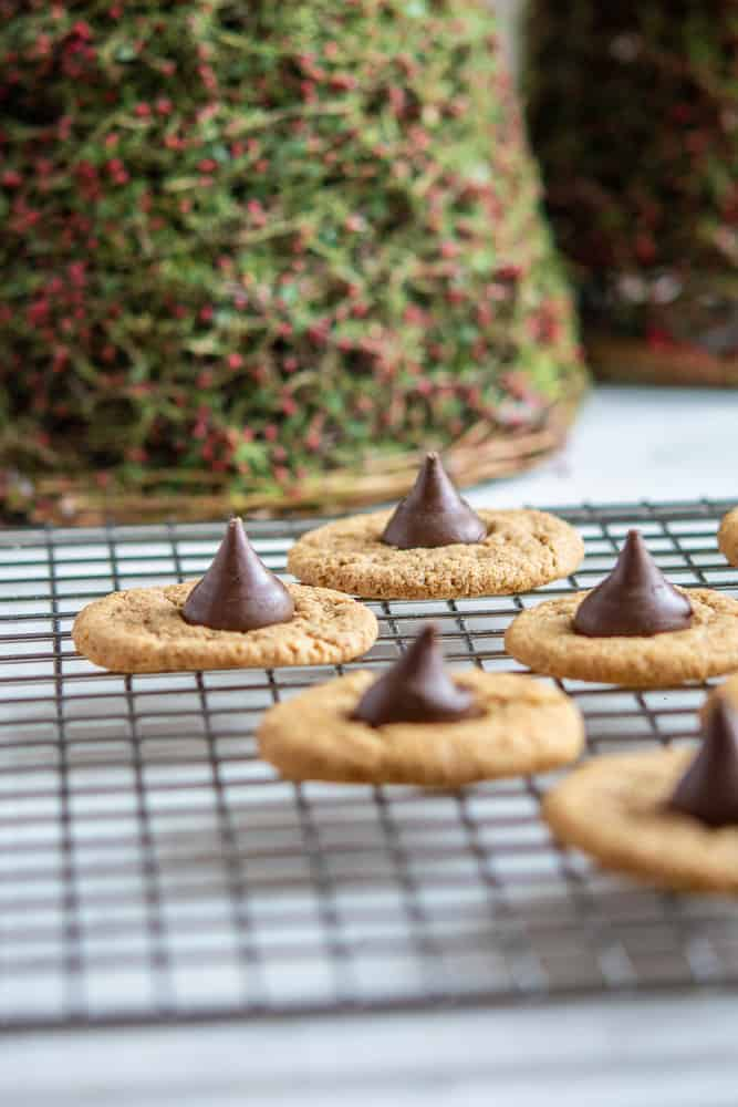Almond Butter Bloosom Cookie photo on a baking rack with holiday decoration in background