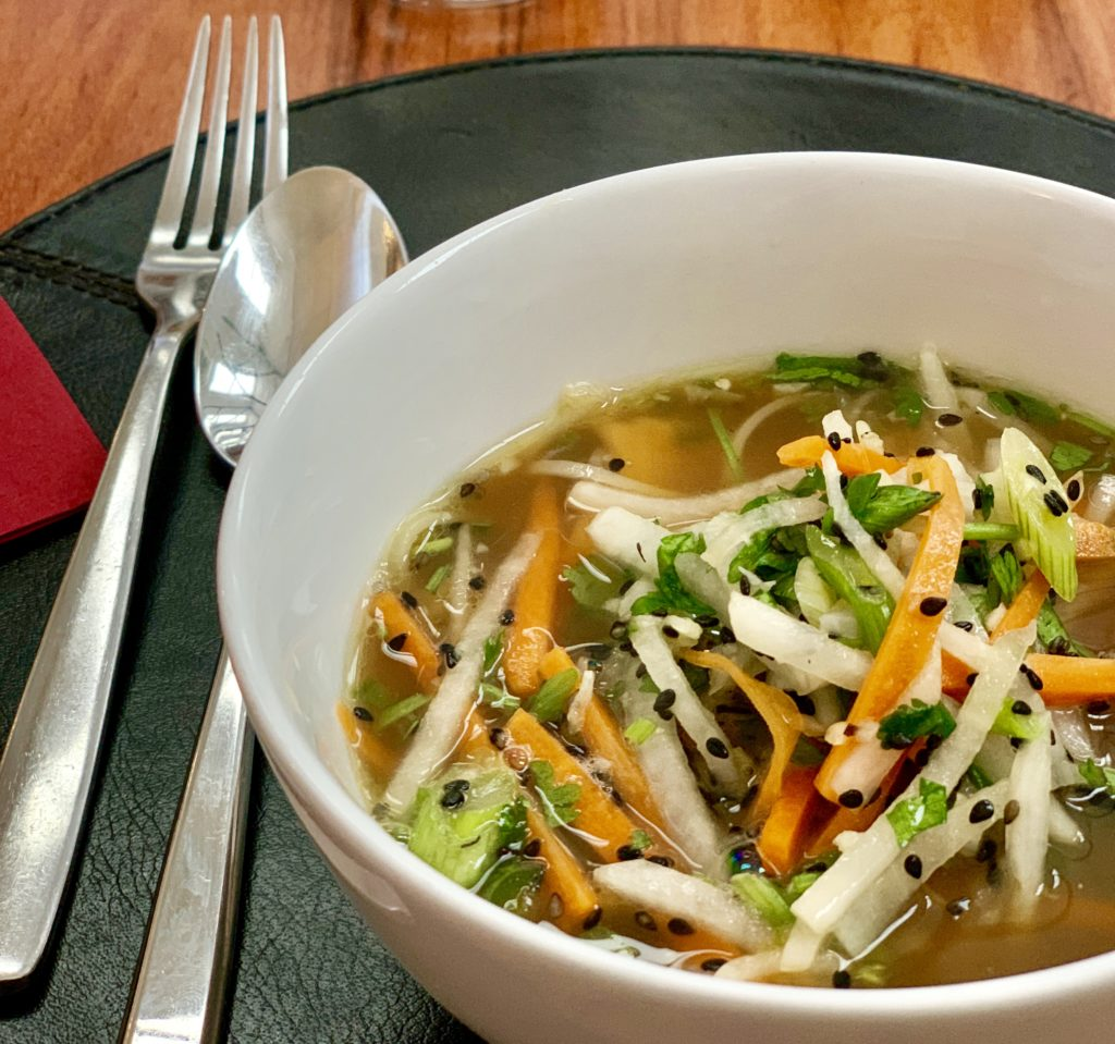 photo of Japanese consommé with vegetables