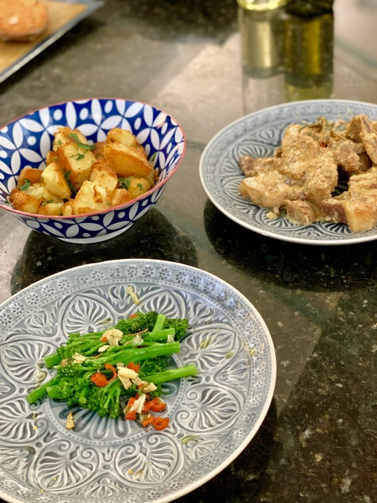 photo of broccoli, potatoes and pork