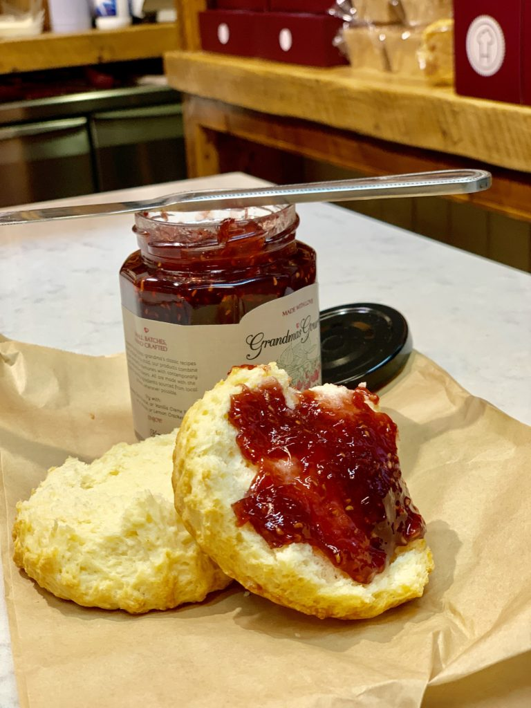 photo of scone with grandmas gourmet jam