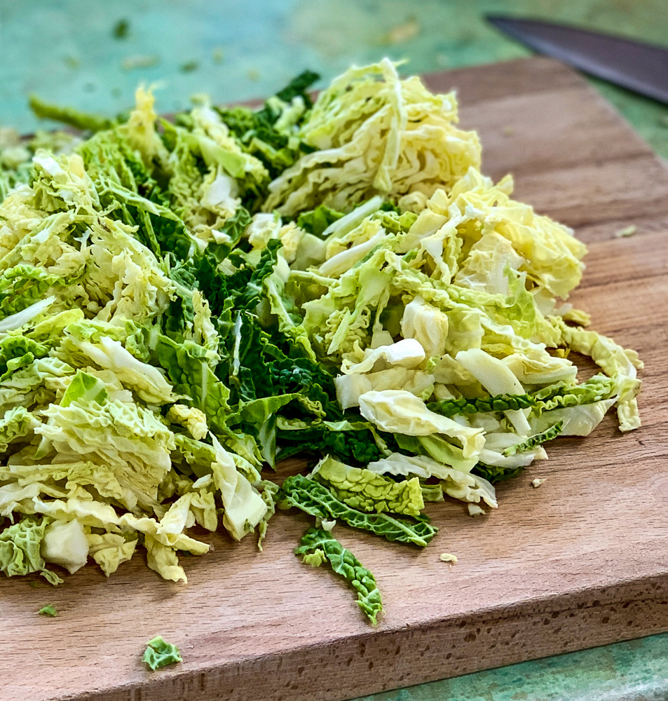 photo sliced cabbage for colcannon twice baked potato