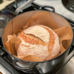 photo of sourdough load in dutch oven