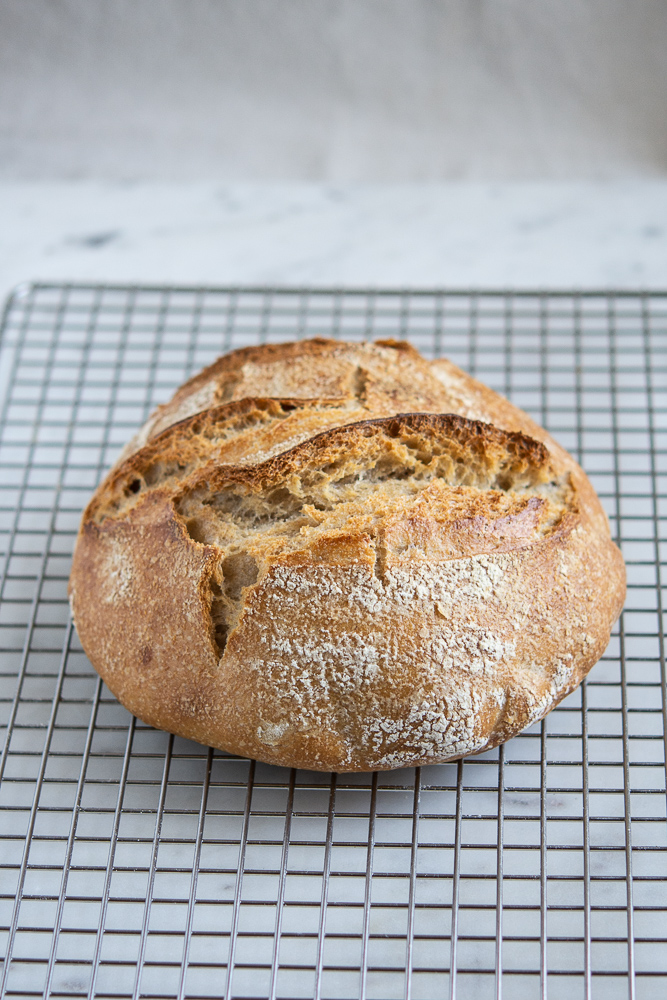 photo of sourdough bread on cooling rack