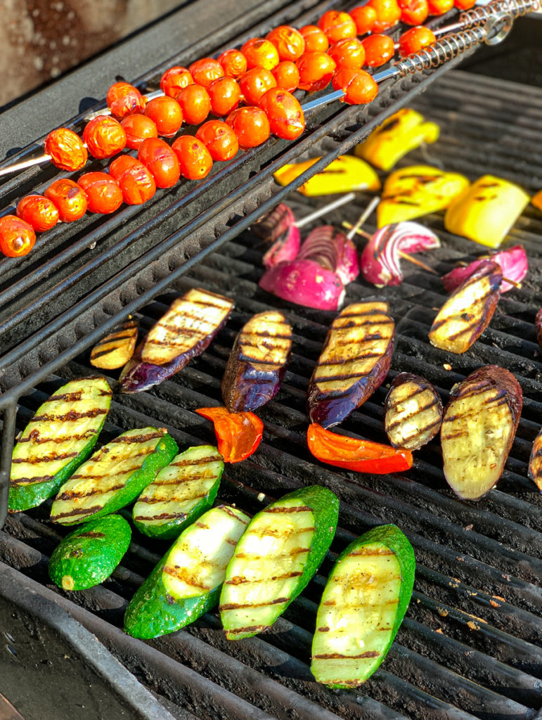 Veggies for Grilled Ratatouille on the grill