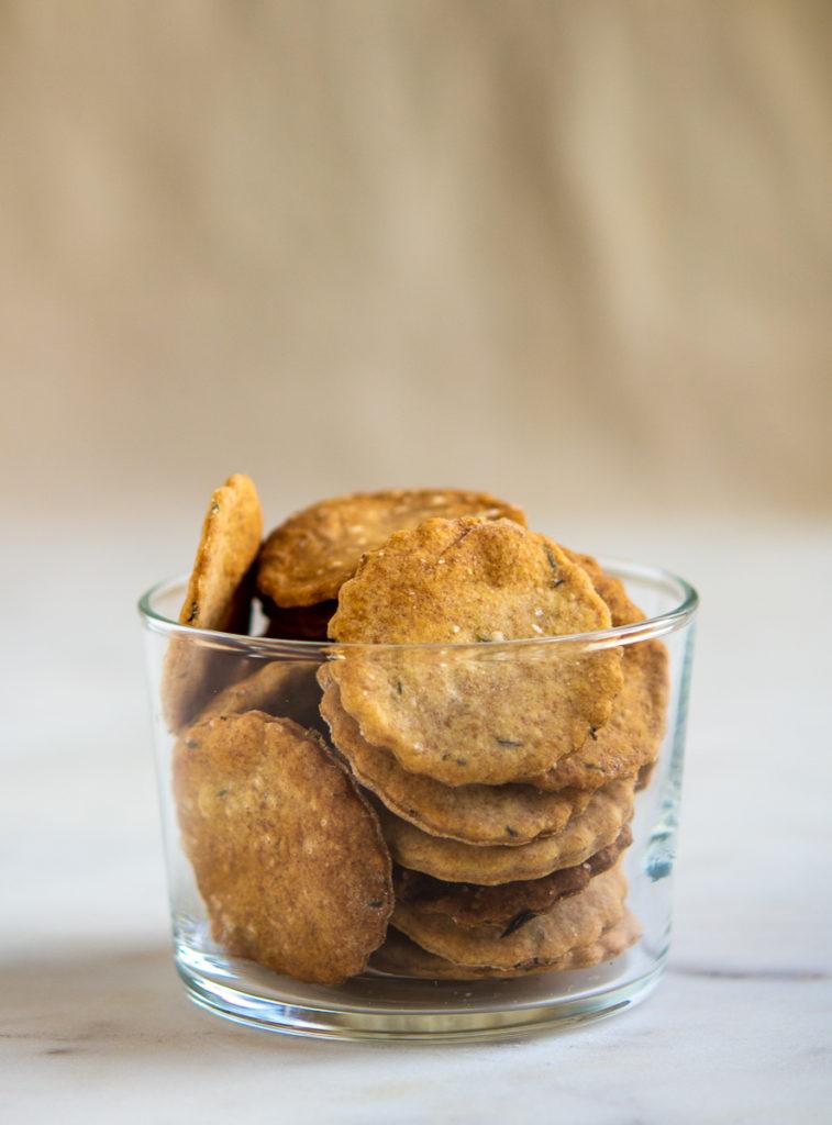 Rustic sourdough crackers in a glass