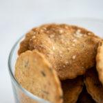 closeup of Rustic sourdough crackers in a glass