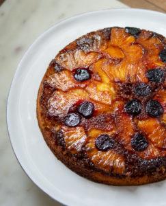 Overhead shot of Pineapple Upside-Down Cake on cake plate