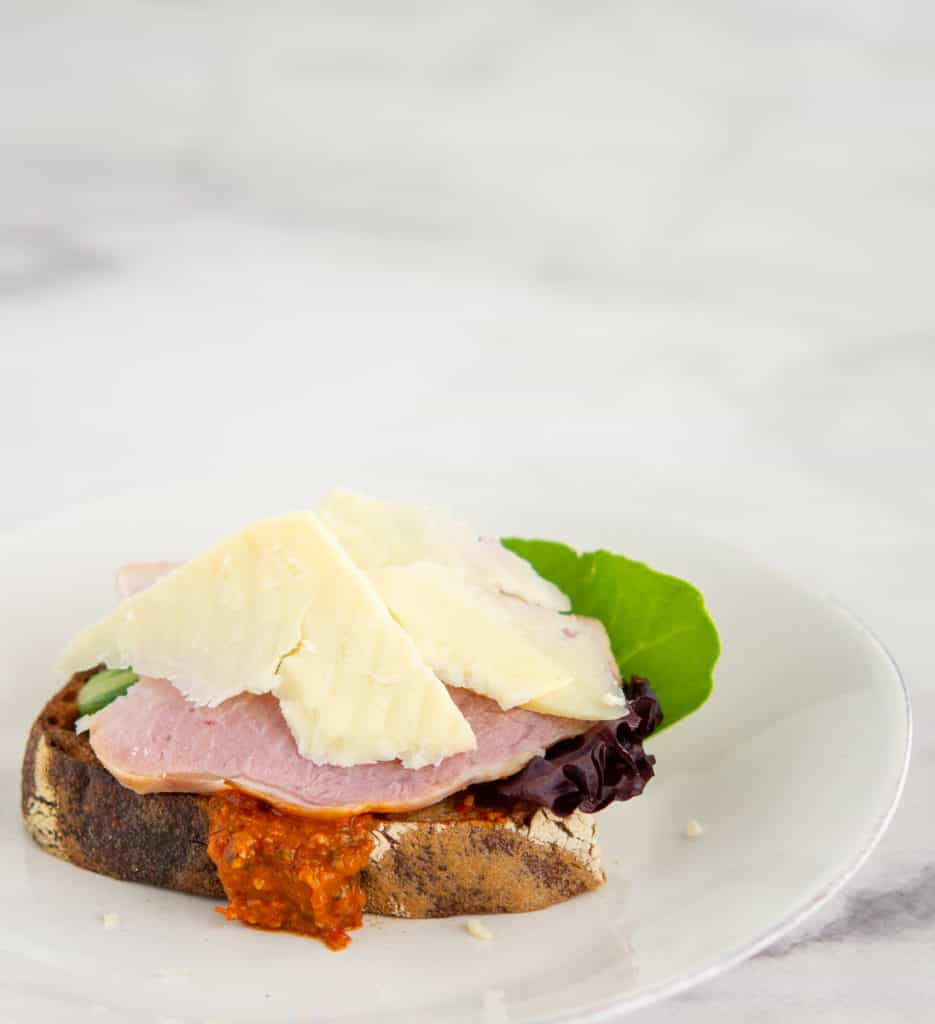Roasted Romesco Sauce on a ham and cheese toasty sourdough sandwich