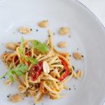 overhead close-up shot of Sesame Miso Peanut Noodles