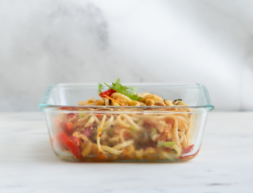 shot of Sesame Miso Peanut Noodles in a glass container