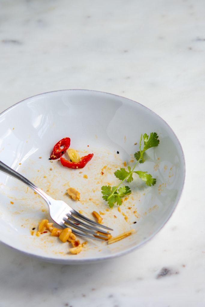 empty bowl of Sesame Miso Peanut Noodles