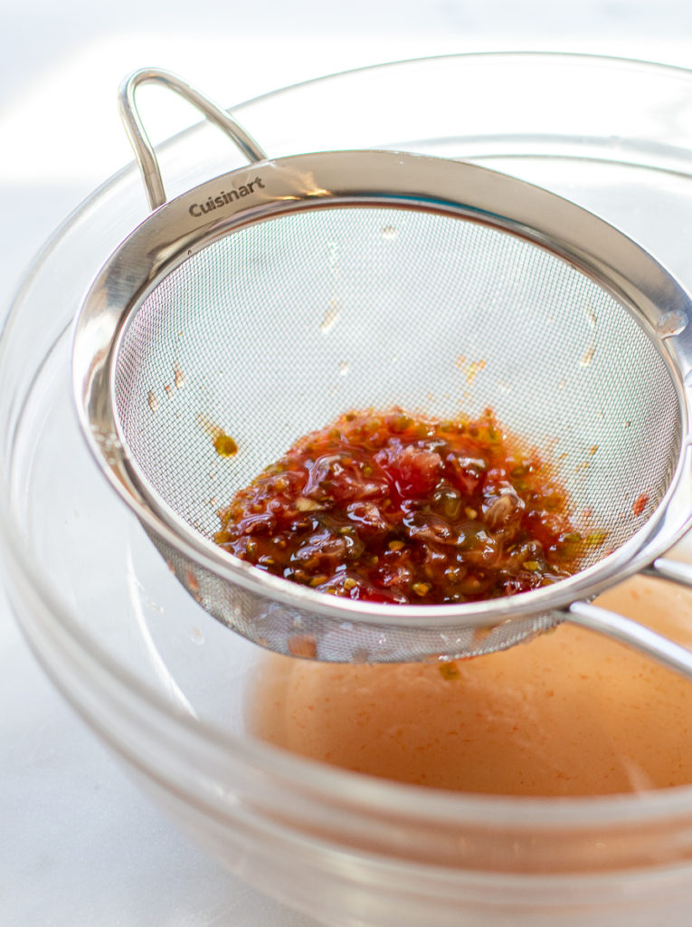 strained tomato juices from veg for Grilled Gazpacho