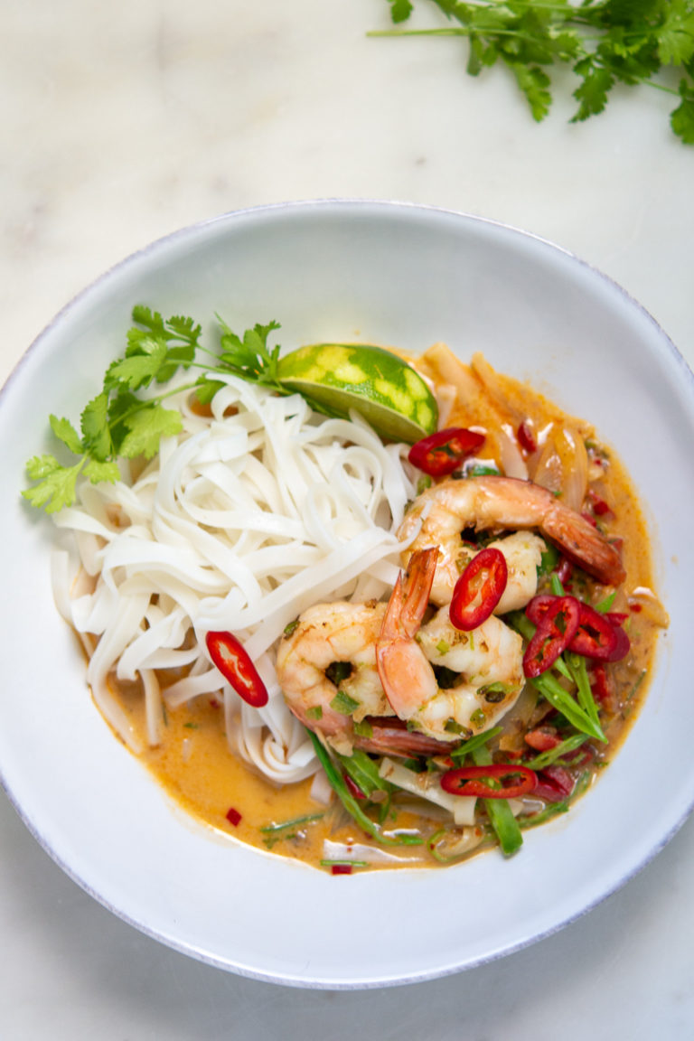 overhead shot of Spicy Shrimp Rice Noodles and Coconut Curry