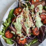 grilled steak salad overhead shot