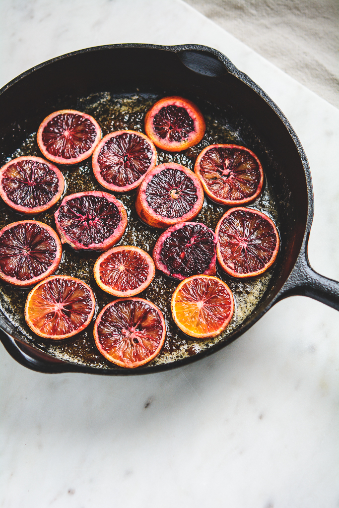 blood oranges in a cast iron pan