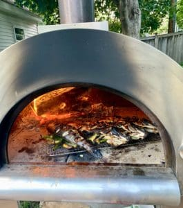 Fish in the pizza oven