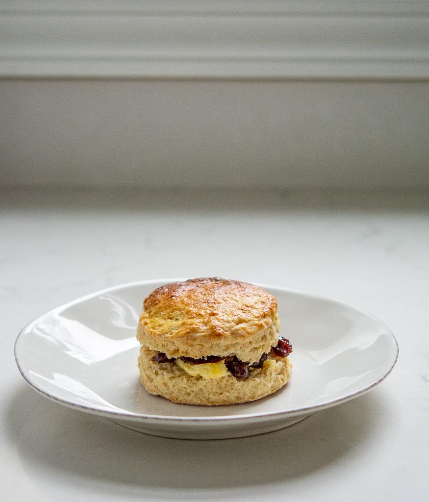 irish scones butter and jam sandwich