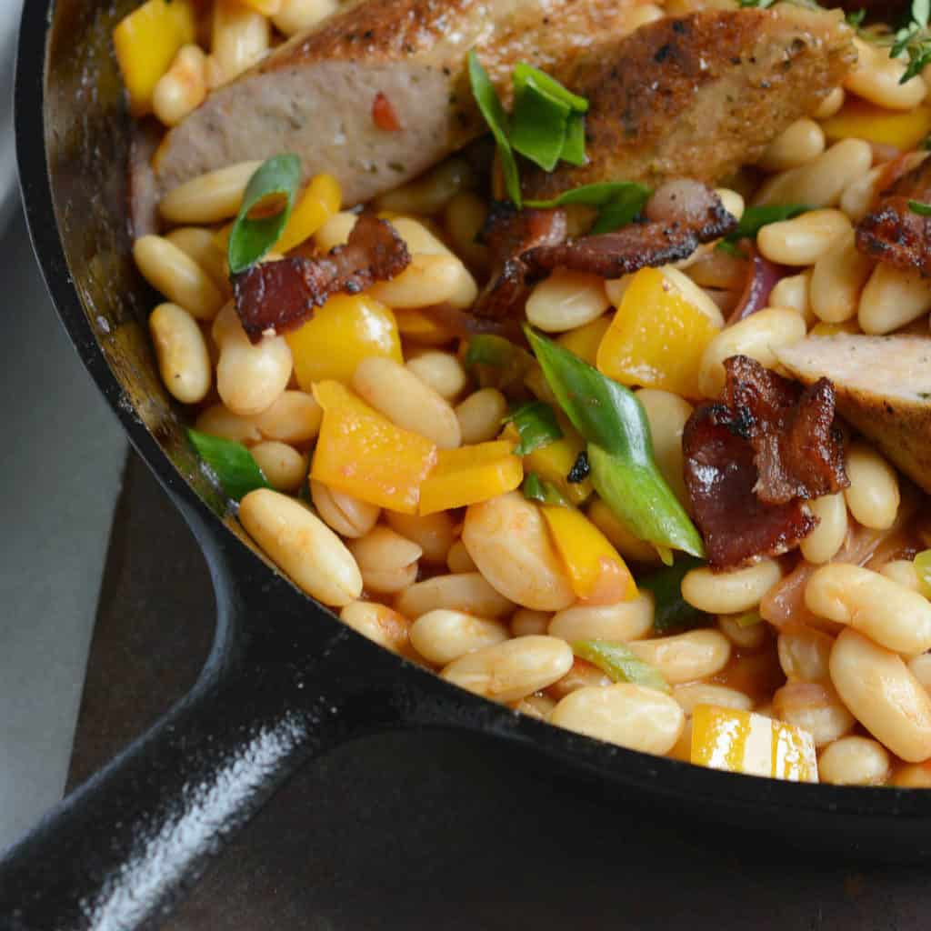 bbq'd white beans and sausages